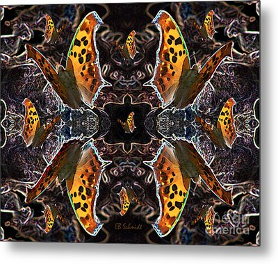 Metal Print featuring the digital art Butterfly Reflections 05 - Eastern Comma by E B Schmidt