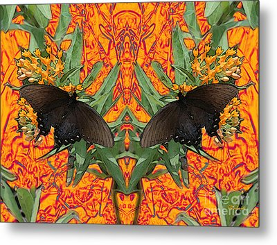Metal Print featuring the digital art Butterfly Reflections 06 - Spicebush Swallowtail by E B Schmidt
