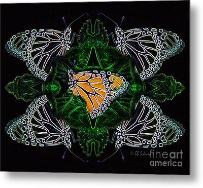 Metal Print featuring the digital art Butterfly Reflections 07 - Monarch by E B Schmidt