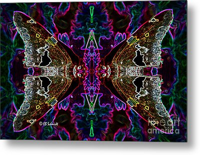 Metal Print featuring the digital art Butterfly Reflections 08 - Silver Spotted Skipper Reflections by E B Schmidt