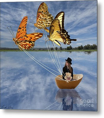 Butterfly Sailing Metal Print
