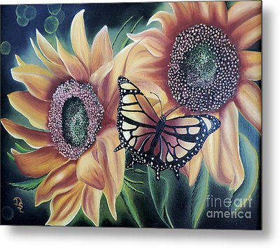 Metal Print featuring the painting Butterfly Series 5 by Dianna Lewis