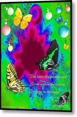 Butterfly Shows The Way Metal Print by Bobbee Rickard