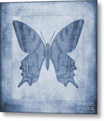 Butterfly Textures Cyanotype Metal Print