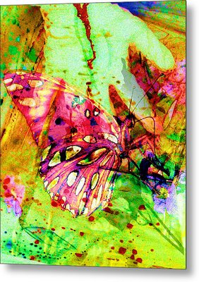 Metal Print featuring the painting Butterfly That Was A Muscian by David Mckinney