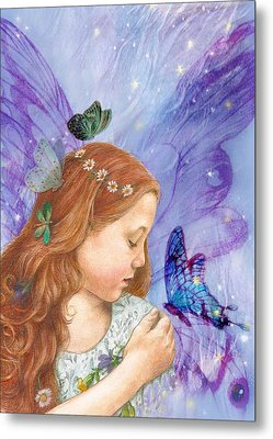 Metal Print featuring the painting Butterfly Twinkling Fairy by Judith Cheng