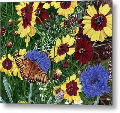 Butterfly Wildflowers Garden Oil Painting Floral Green Blue Orange-2 Metal Print by Walt Curlee