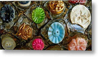 Button Biographies Metal Print by Gwyn Newcombe