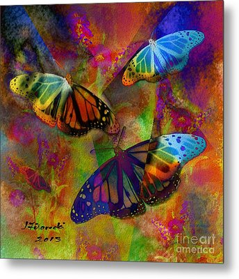 Buttrerfly Collage All About Butterflies Metal Print by Judy Filarecki