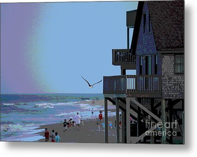Buxton Beach And People Metal Print by Cathy Lindsey