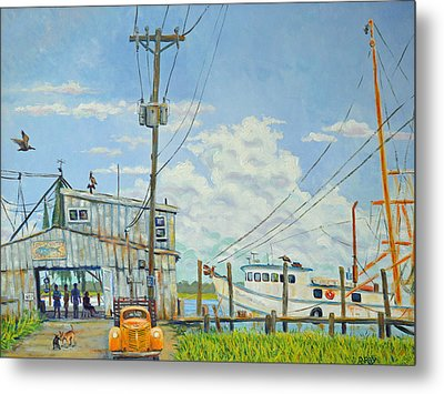 Metal Print featuring the painting Buying Shrimp In Rockville by Dwain Ray