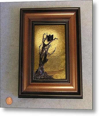 Buzzard With Gold Sun Metal Print