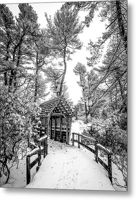Metal Print featuring the photograph Bw Covered Bridge In The Snow by Steve Zimic