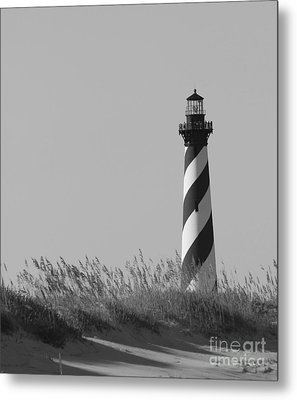 Bw Of Hatteras Lighthouse Metal Print by Laurinda Bowling