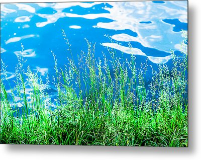 By The Blue Water Metal Print