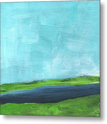 By The River- Abstract Landscape Painting Metal Print by Linda Woods