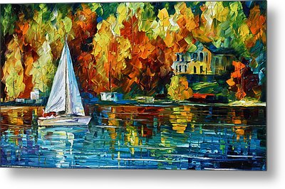By The Rivershore Metal Print by Leonid Afremov