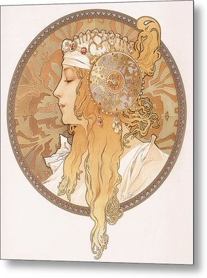 Byzantine Head Of A Blond Maiden Metal Print by Alphonse Marie Mucha