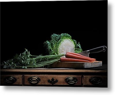 Metal Print featuring the photograph Cabbage And Carrots by Krasimir Tolev