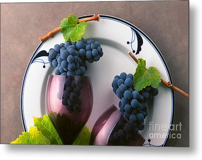 Cabernet Grapes And Wine Glasses Metal Print by Craig Lovell