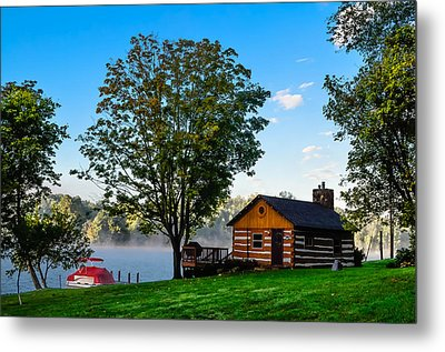 Cabin At The Lake Metal Print by Brian Stevens