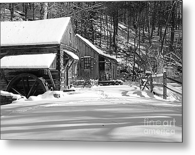 Cabin Fever In Black And White Metal Print by Paul Ward