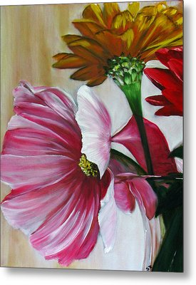 Cabin Flowers Metal Print by Sherry Robinson