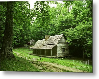Cabin In The Smokey Mtns Metal Print by Teri Brown