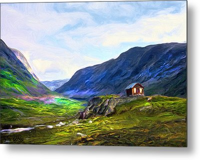 Metal Print featuring the painting Cabin In The Valley by Tyler Robbins
