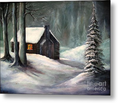 Cabin In The Woods Metal Print by Hazel Holland
