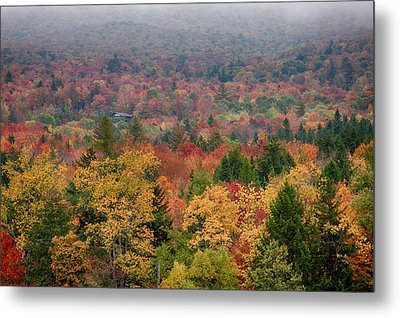Cabin In Vermont Fall Colors Metal Print