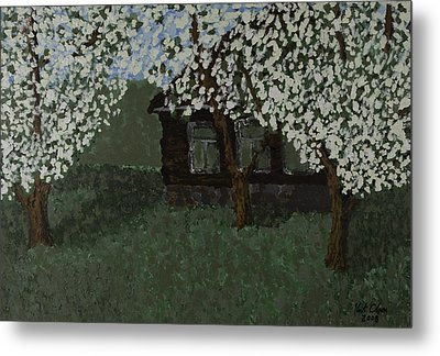 Cabin With Blossoms Woods Spring Metal Print