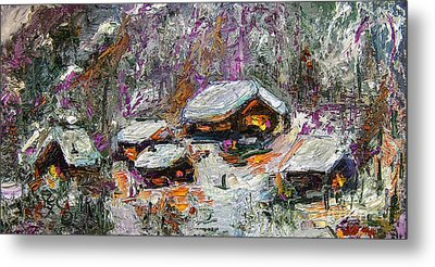 Cabins In The Snow Modern Expressionism Metal Print by Ginette Callaway
