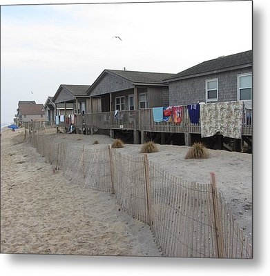 Metal Print featuring the photograph Cabins On Buxton Beach by Cathy Lindsey