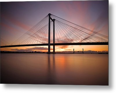 Metal Print featuring the photograph Cable Bridge by Ronda Kimbrow