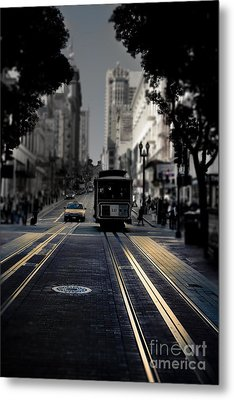 Cable Car In San Francisco Fine Art Metal Print by Design Remix