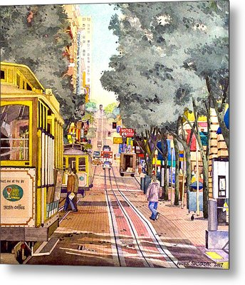 Cable Cars On Powell Street Metal Print