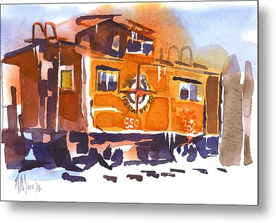 Caboose In Snow And Ice Metal Print