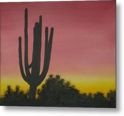 Cactus At Dawn Metal Print by Aaron Thomas