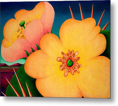 Metal Print featuring the drawing Cactus Flower by Richard Dennis