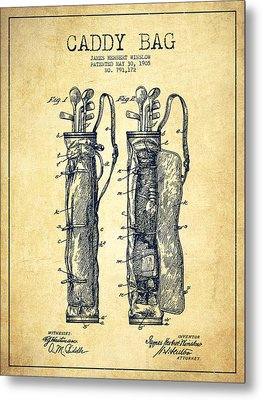 Caddy Bag Patent Drawing From 1905 - Vintage Metal Print by Aged Pixel