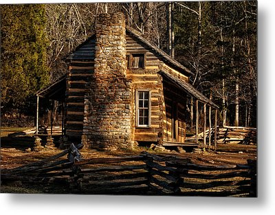 Cades Cove Oliver's Cabin Metal Print by Greg and Chrystal Mimbs