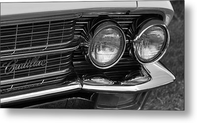 Metal Print featuring the photograph Cadillac Grill And Lights B/w by Mick Flynn