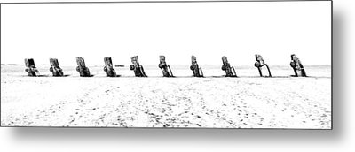 Cadillac Ranch Whiteout 001 Bw Metal Print