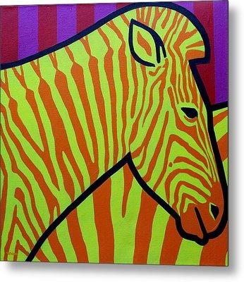 Cadmium Zebra Metal Print by John  Nolan