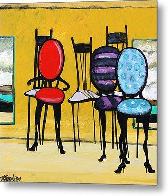 Cafe Chairs Metal Print by Karon Melillo DeVega