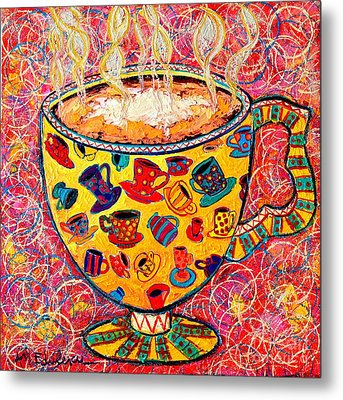 Cafe Latte - Coffee Cup With Colorful Coffee Cups Some Pink And Bubbles  Metal Print