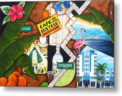 Metal Print featuring the painting Cafe Miami by Joseph Sonday