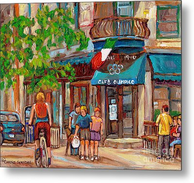 Cafe Olimpico-124 Rue St. Viateur-montreal Paintings-sports Bar-restaurant-montreal City Scenes Metal Print by Carole Spandau