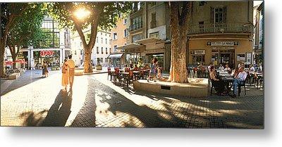 Cafe, Orange, Provence France Metal Print
